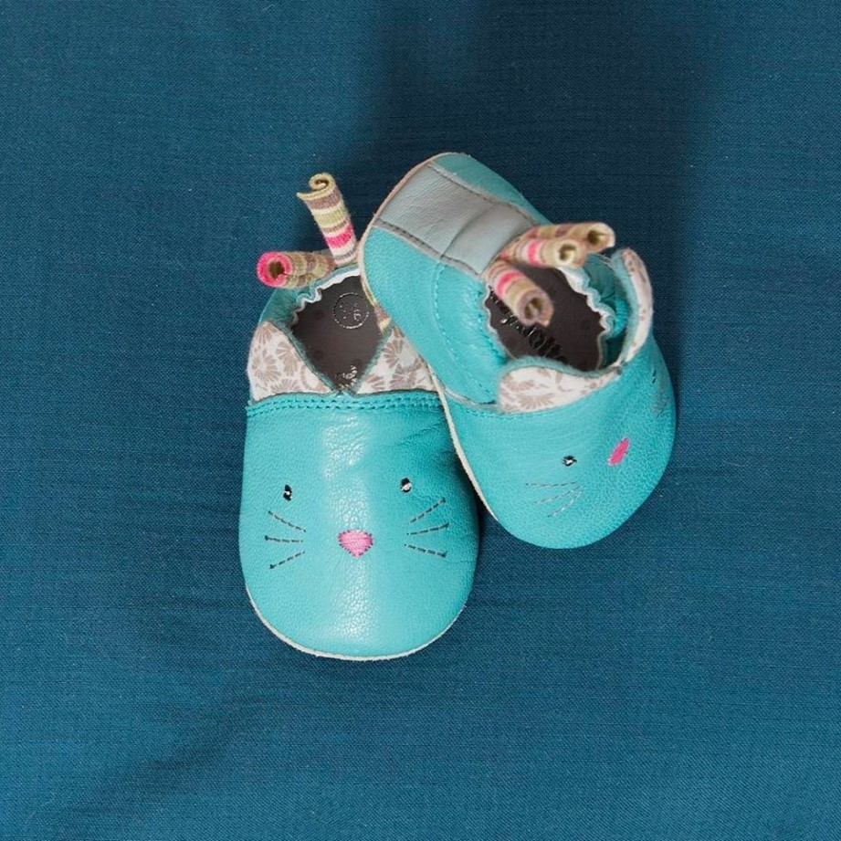 Chaussons cuir chat Les Pachats